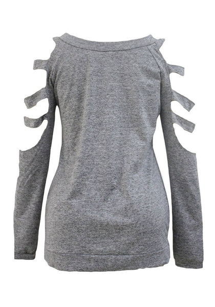 Back view of grey cold-shoulder hollow-out blouse's 3D image