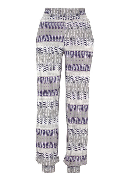 Back view of grey ethnic-print straight cut smocked pants' 3D image