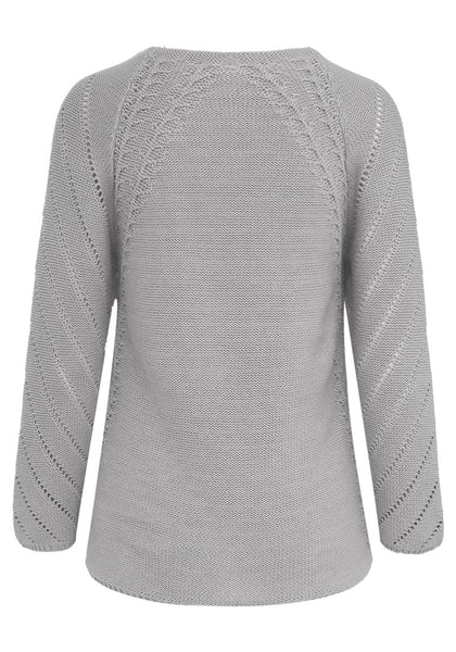 Back view of grey hollow out cotton sweater's 3D image