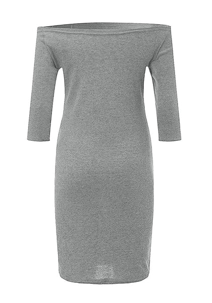 Back view of grey side-zip long sleeves off-shoulder dress' 3D image.