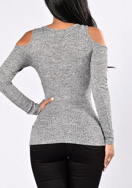 Back view of lady in grey cold shoulder zip-front top