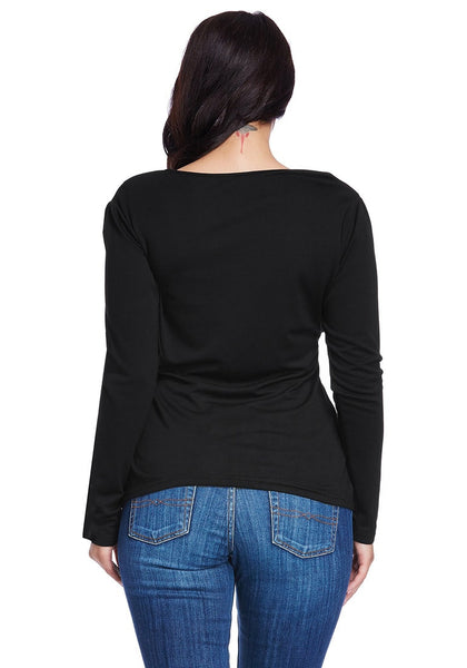 Back view of lady in plus size side-zip wrap top