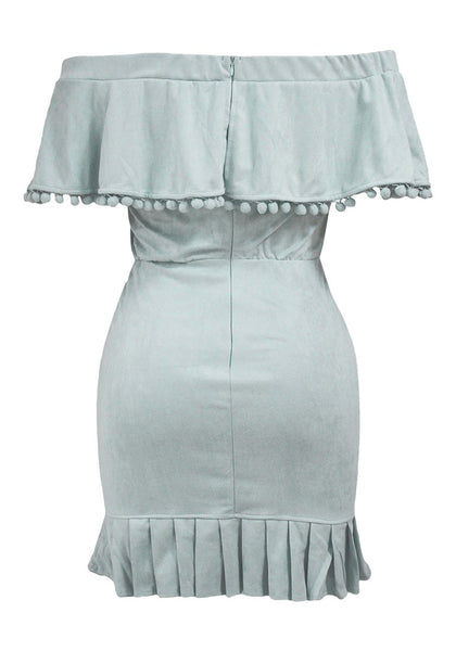 Back view of light blue ruffled off-shoulder pompom dress' 3D image