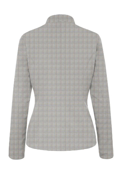 Back view of light grey stand collar open-front blazer's image