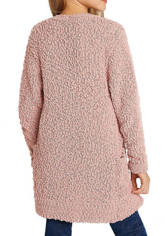 Mauve Pink Fuzzy Fleece Open-Front Girls Cardigan