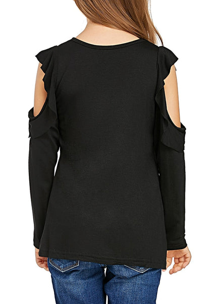 Back view of little girl wearing black melange long sleeves ruffled cold-shoulder girl top