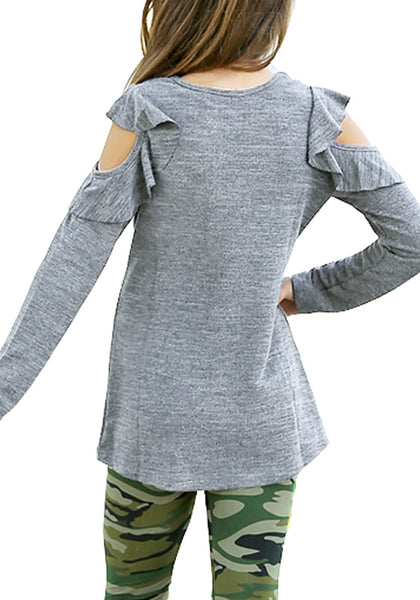 Back view of little girl wearing grey melange long sleeves ruffled cold-shoulder girl top