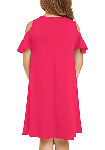 Back view of little girl wearing hot pink cold shoulder ruffle short sleeves girl tunic dress