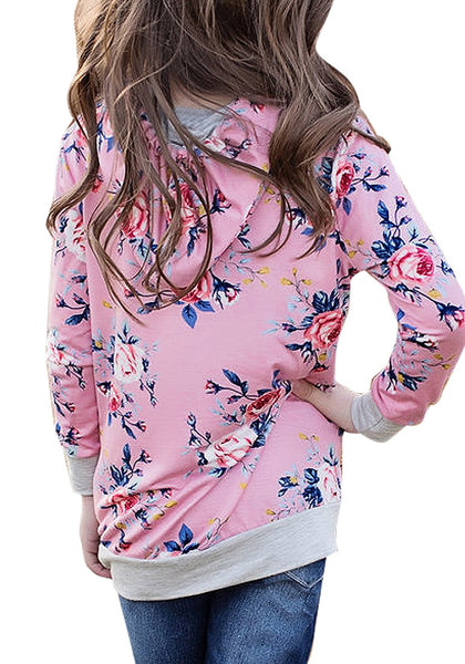 Back view of little girl wearing pink floral print  pullover pocket girl hoodie