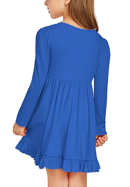Back view of little girl wearing royal blue ruffled hem pleated long sleeves short girl dress