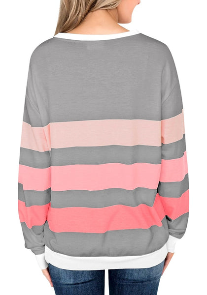 Back view of mode wearing grey color block striped pullover sweatshirt