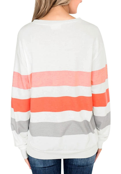 Back view of mode wearing white color block striped pullover sweatshirt