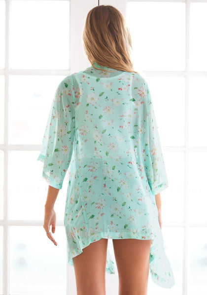 Back view of model in Floral Crop Sleeves Kimono - Sky-blue