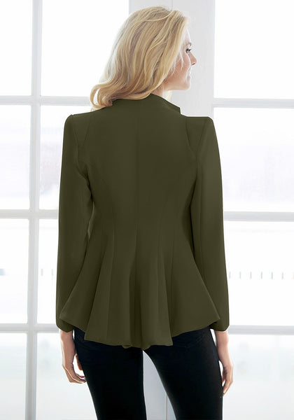 Back view of model in army green double lapel fit-and-flare