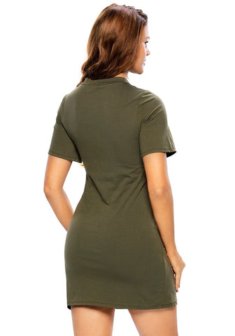Army Green Lace-Up Tee Dress
