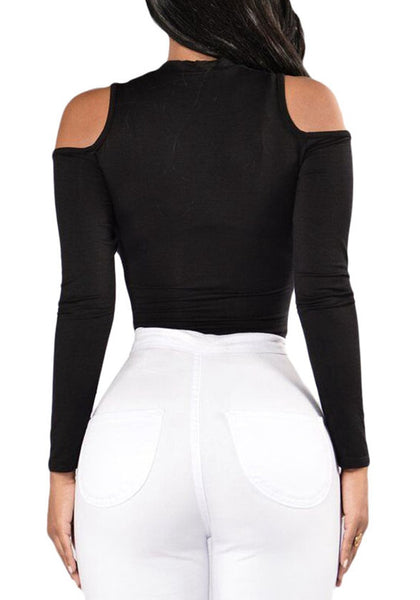 Back view of model in black cold-shoulder formfitting bodysuit