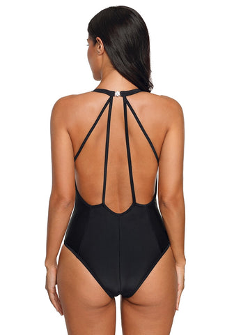 Black Cutout Plunge Neck Multi-Strap Back Swimsuit