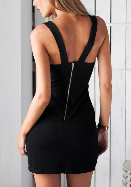Back view of model in black midi bodycon dress