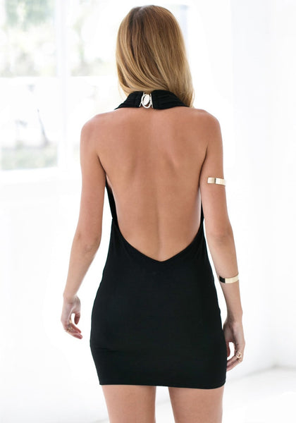 Back view of model in black one-shoulder bodycon dress