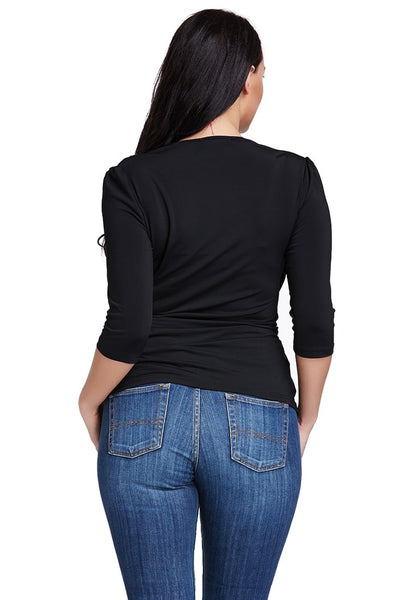 Back view of model in black ruched surplice top