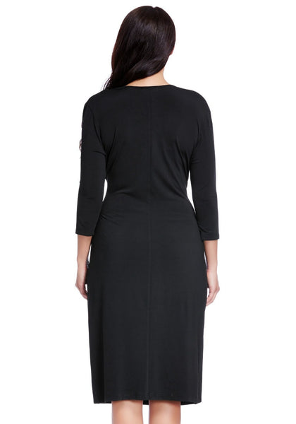 Back view of model in black side-patch wrap midi dress