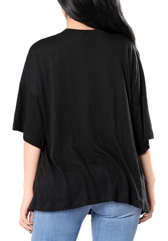 Black Skull-Print Distressed Loose Top