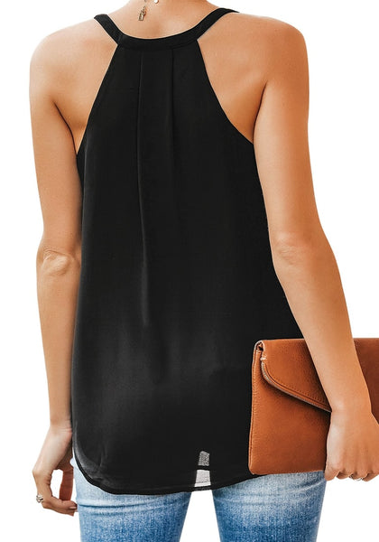 Back view of model in black sweetheart neckline loose surplice cami top