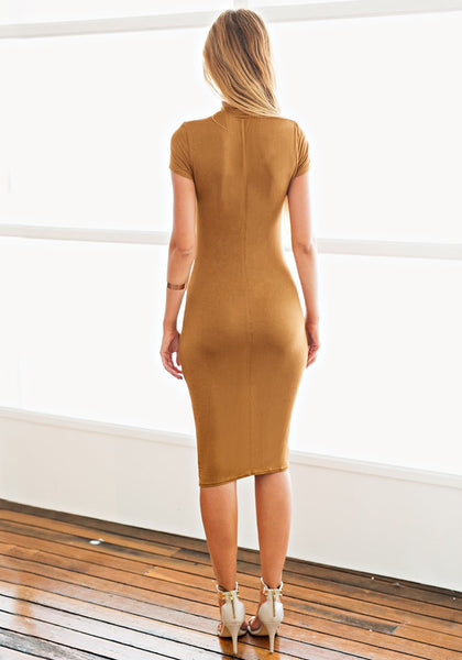 Back view of model in brown midi sheath dress