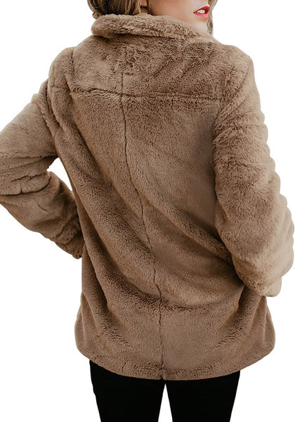 Back view of model in brown notch collar oversized fleece jacket