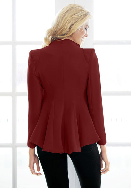 Back view of model in burgundy double lapel fit-and-flare blazer