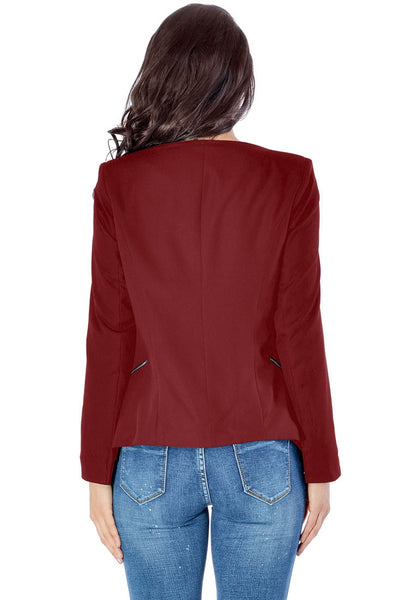 Back view of model in burgundy draped blazer