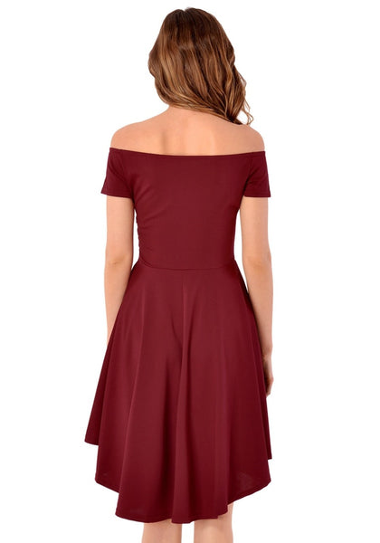 Back view of model in burgundy off-shoulder high-low skater dress