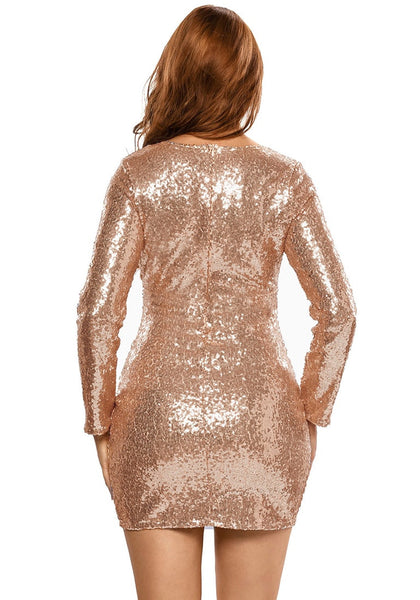Back view of model in champagne plunge-neck sequin dress