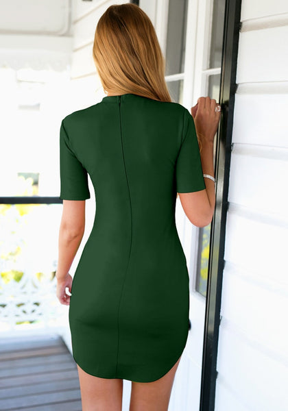 Back view of  model in dark green curved hem bodycon dress