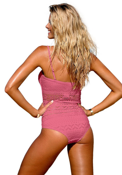 Back view of model in deep blush lace halter swimsuit-min