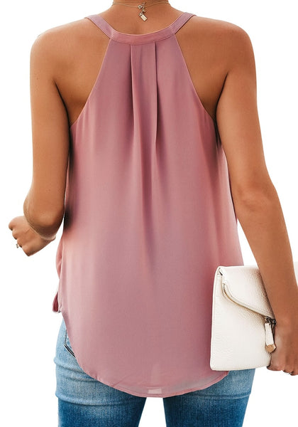 Back view of model in deep blush sweetheart neckline loose surplice cami top