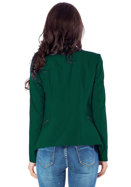 Back view of model in deep green draped blazer