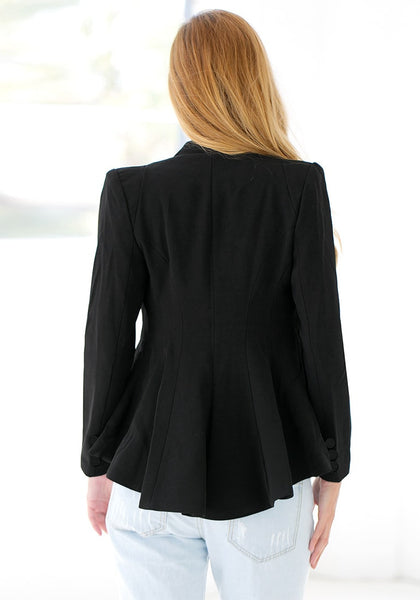 Back view of model in double lapel fit-and-flare blazer - black