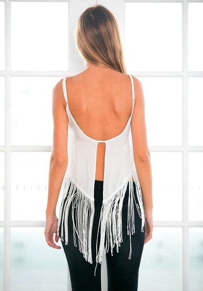 Back view of model in fringe tank top