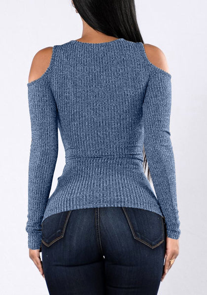 Back view of model in grayish blue cold shoulder zip-front top