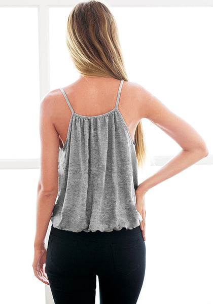 Back view of model in grey surplice cami top