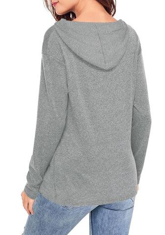 Grey Twist-Knot Drawstring Hooded Sweatshirt