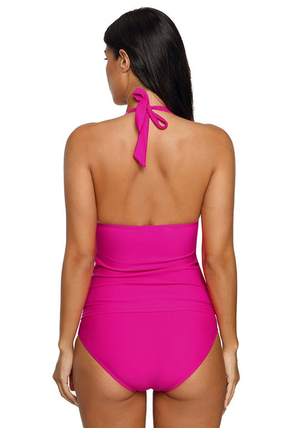 Back view of model in hot pink sweetheart neckline halter tankini set