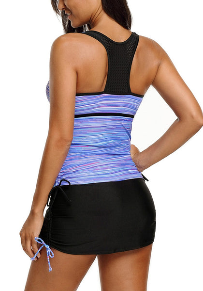 Back view of model in light blue zip-front racerback drawstring tankini set