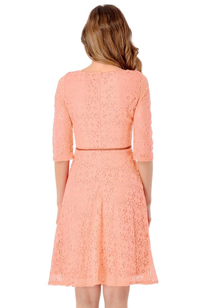Back view of model in light orange lace crop sleeves A-line dress