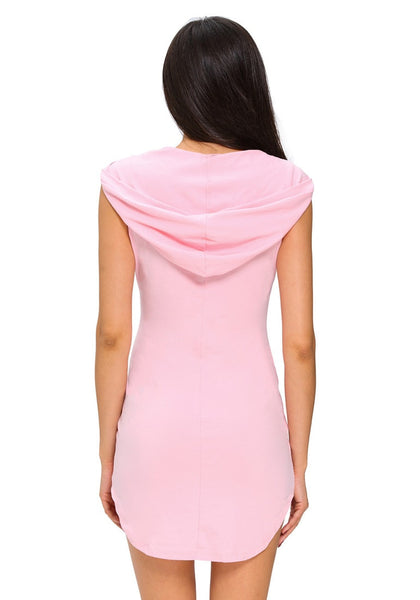 Back view of model in light pink sleeveless hoodie dress