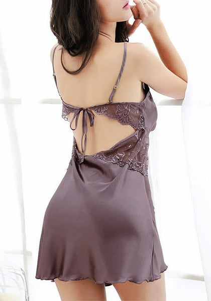 Back view of model in mauve datin and lace babydoll