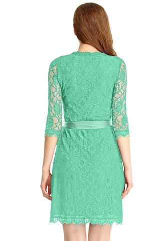 Mint Green Lace Overlay Plunge Wrap-Style Dress