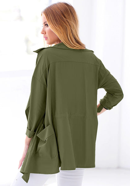 Back view of model in moss green draped cardigan