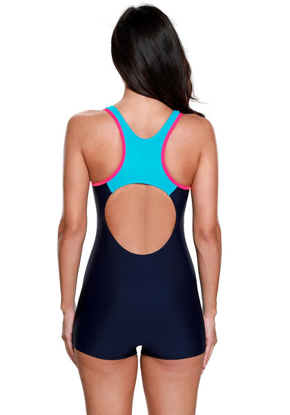 Back view of model in navy and aqua blue racerback keyhole maillot swimsuit